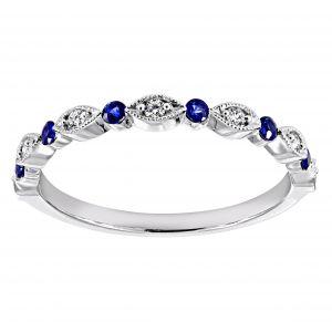Henri Daussi Alternating Blue Sapphire And Diamond Band