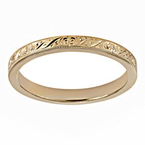 Single Stone Hazel Medium Yellow Gold Band