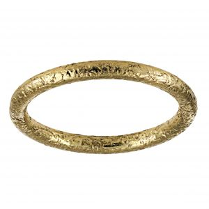 Single Stone Jane Yellow Gold Hammered Band