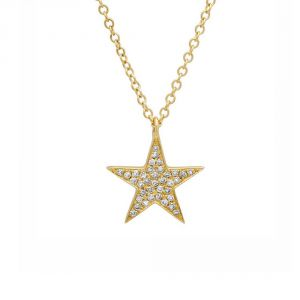 TWO by London 14k Gold Diamond Star Pendant Necklace