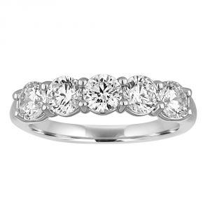 TWO by London Five Stone Round Diamond Shared Prong Anniversary Band