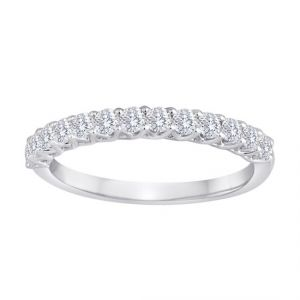 TWO by London Shared Prong Trellis Diamond Wedding Band