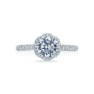 Tacori Petite Crescent Pave Halo Engagement Ring