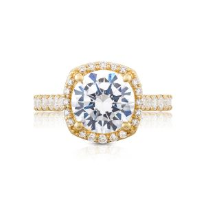 Tacori Petite Crescent Cushion Halo Engagement Ring