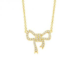 TWO by London 14k Gold Pave Diamond Bow Pendant Necklace