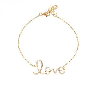 "TWO by London Kate 14k Gold Diamond ""Love"" Bracelet"