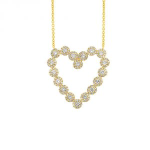 TWO by London 14k Gold Diamond Cluster Heart Pendant Necklace