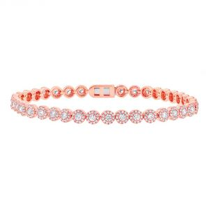 TWO by London 14k Rose Gold Diamond Flower Tennis Bracelet