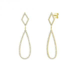 TWO by London 14k Yellow Gold Diamond Open Teardrop Drop Earrings