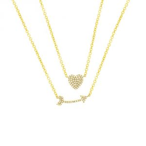 TWO by London 14k Gold Diamond Heart & Arrow Pendant Necklace