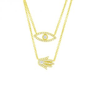 TWO by London 14k Gold Diamond Evil Eye and Hamsa Pendant Necklace