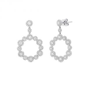 TWO by London 14k White Gold Diamond Cluster Circle Drop Earrings