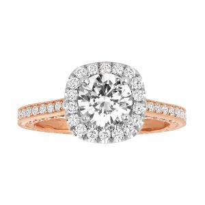 Jack Kelege Imperial Silhouette 18k Two Tone Diamond Halo Engagement Ring