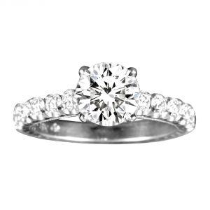 Jack Kelege Grace 18k White Gold Round Diamond Engagement Ring
