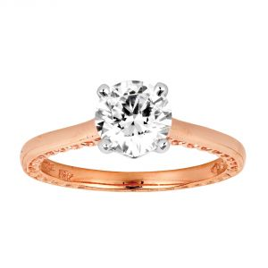Jack Kelege Imperial Silhouette 18k Rose Gold Round Diamond Engagement Ring