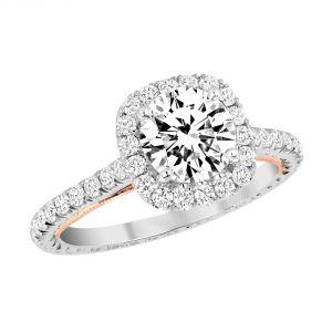 Jack Kelege Grace 18k Gold Diamond Halo Engagement Ring