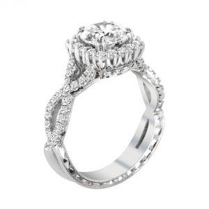 Jack Kelege Demi 18k White Gold Round Diamond Halo Engagement Ring
