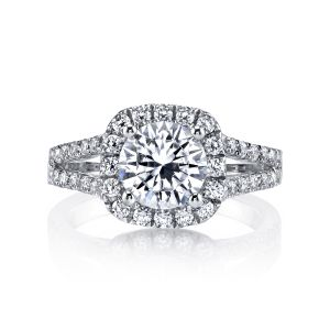 MARS Jewelry Ever After French Pave Split Shank Halo Engagement Ring