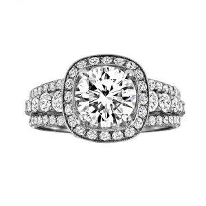 Jack Kelege Demi 18k White Gold Round Diamond Engagement Ring