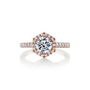 MARS Jewelry Rebel Hearts Hexagon Halo Engagement Ring