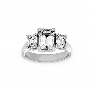 Norman Silverman Three Stone Emerald Engagement Ring