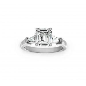Norman Silverman Emerald Cut And Baguette Diamond Three Stone Ring