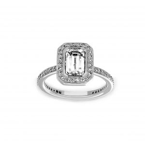 Ritani Emerald Cut Diamond Halo Engagement Ring