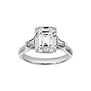 Norman Silverman Emerald Cut Trapezoid Diamond Three Stone Engagement Ring