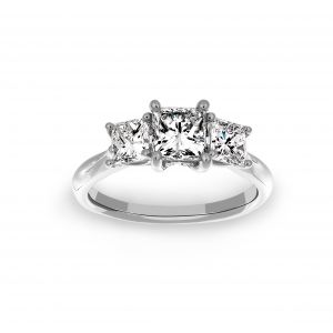 Ritani Three Stone Princess Cut Engagement Ring
