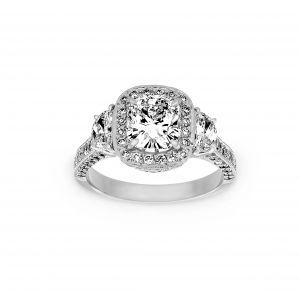 Norman Silverman Three Stone Cushion Halo And Half Moon Diamond Engagement Ring