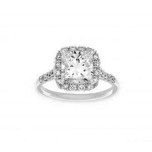 Norman Silverman Princess Cut Cushion Halo Pave Diamond Engagement Ring