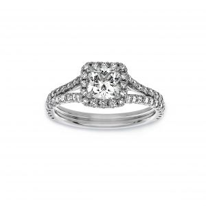 Norman Silverman Cushion Cut Halo Pave Diamond Basket Split Shank Engagement Ring