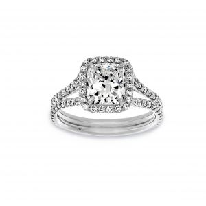Norman Silverman Cushion Cut Halo Pave Diamond Split Shank Engagement Ring