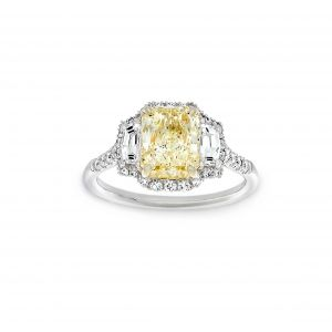 Norman Silverman Three Stone Fancy Yellow Radiant Halo And Shield Pave Engagement Ring