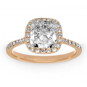 Henri Daussi Diamond Halo Engagement Ring With Cushion Cut Center