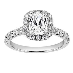 Henri Daussi Cushion Cut Diamond Halo Engagement Ring