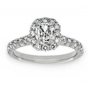 Henri Daussi Diamond Halo Cushion Cut Engagement Ring