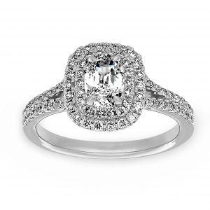 Henri Daussi Double Halo Split Shank Cushion Diamond Engagement Ring