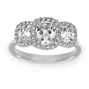 Henri Daussi Three Stone Cushion Cut Diamond Halo Engagement Ring