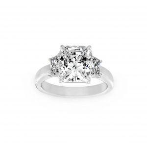 Norman Silverman Radiant And Trapezoid Diamond Three Stone Ring