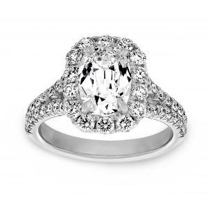 Henri Daussi Elongated Cushion Cut Diamond Halo Split Shank Engagement Ring