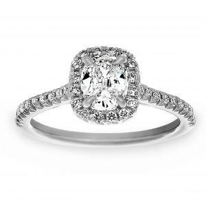 Henri Daussi Cushion Cut Diamond Pave Halo Engagement Ring