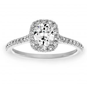 Henri Daussi Rounded Cushion Solitaire Diamond Halo Engagement Ring