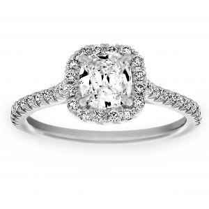 Henri Daussi Rounded Cushion Diamond Halo Engagement Ring