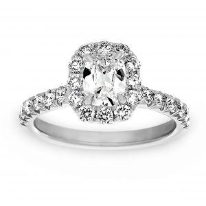 Henri Daussi Cushion Diamond Halo Engagement Ring