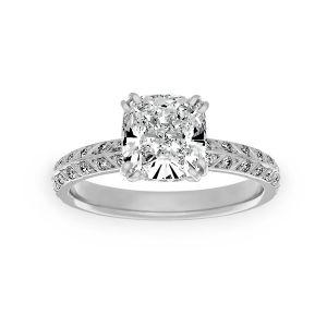 Harry Kotlar Chevron Pave Diamond Solitaire Engagement Ring