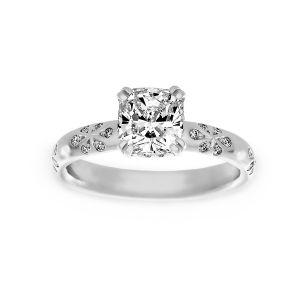 Harry Kotlar Floral Artisan Pave Cushion Diamond Solitaire Engagement Ring