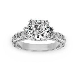 Harry Kotlar Scalloped Artisan Pave Cushion Diamond Three Stone Engagement Ring