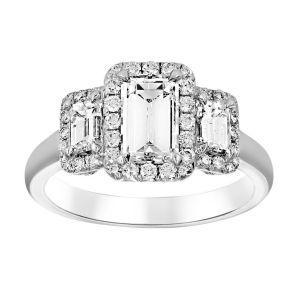 TWO by London Three Stone Diamond Baguette Engagement Ring
