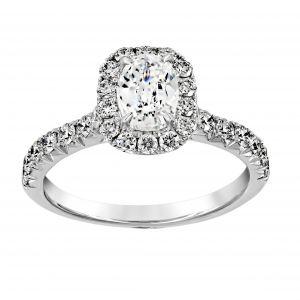Henri Daussi Cushion Cut Pave Diamond Halo Engagement Ring